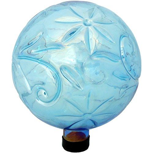 Sunnydaze Flower Pattern Gazing Globe Glass Garden Ball, Outdoor Lawn and Yard Ornament, Blue, 10-Inch