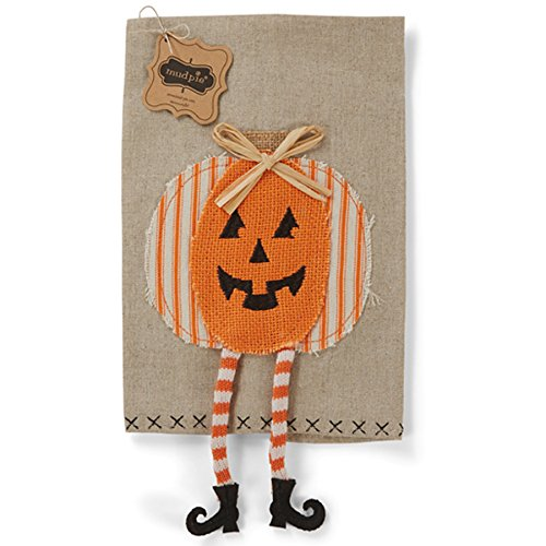 Mud Pie Halloween Kitchen Linen Dangle Leg Towel (Pumpkin)
