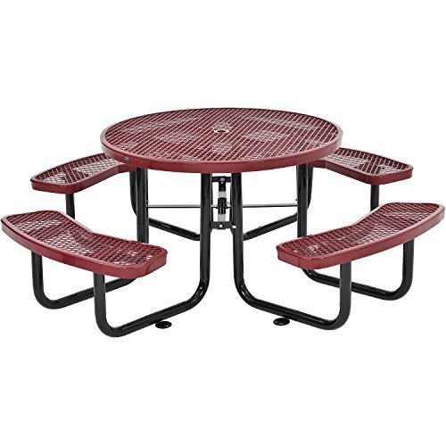 Global Industrial 46 Round Expanded Metal Picnic Table, Red