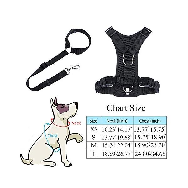 Ohkuu Dog Safety Vest Harness Sets,Soft Mesh Breathable Dog Travel Safety Vest Harness with Adjustable Seat Belt Strap… Click on image for further info. 3