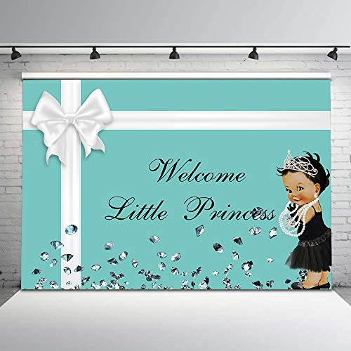 Mehofoto Ethnic Little Princess Backdrop Co Blue Breakfast Baby Shower Photography Backdrops 7x5 Bowknot Bow Diamonds Crown Black Tutu Photo Background for Girls Baby Shower