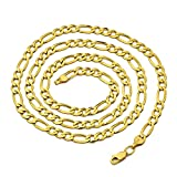 14K Yellow Gold 5.5mm Solid Figaro Chain Necklace (26 inches)