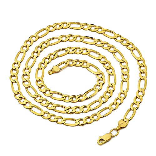 (14K Yellow Gold 5.5mm Solid Figaro Chain Necklace (24 inches))