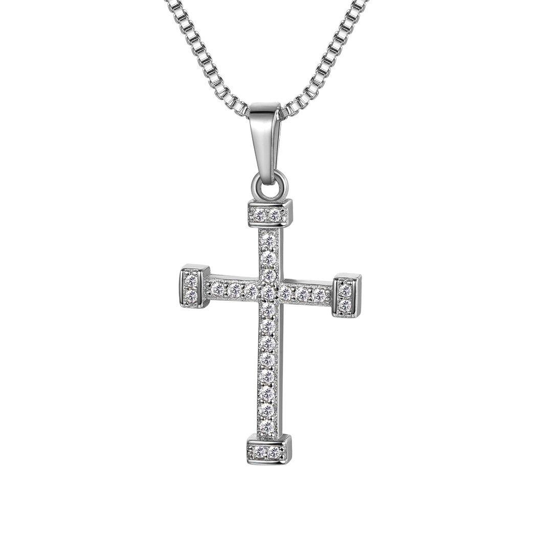 706cec27c81f Suplight Collar con Colgante de Cruz Sencilla con Cadena Venciana 55cm para  Hombre Mujer Chapado en