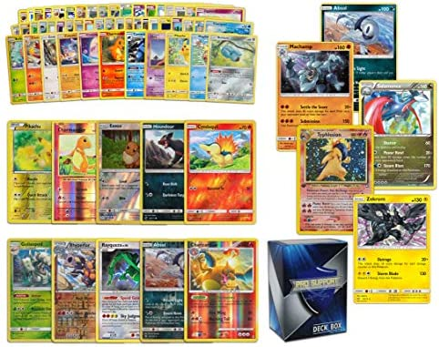 Holo Rare Pokemon Bundle- 60+ Cards= 50 Cards + 5 foil Cards, 5 foil Rare Cards, 2 Holographic Rare Cards, Plus a Pro Support Deck Box