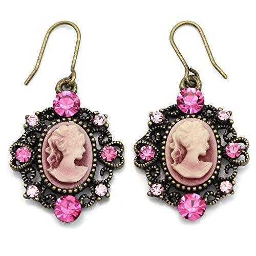 Heart Shape Frame Fuchsia Hot Pink Cameo Dangle Earrings Fashion -