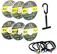 Maxcatch Fly Fishing Leader Tippet Material with Tippet Line Holder & Tender, Clear, 50m/55Yds,