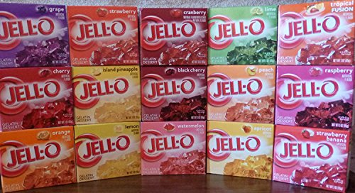 Jell-O Gelatin Sampler (Pack of 15 Different Flavors 3oz Box) by Jell-O