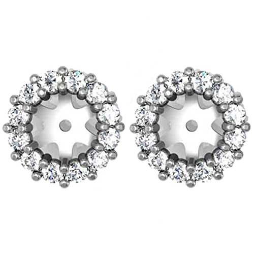 1/2ct Halo Diamond Earring Jackets 14K White Gold Fits 1/2ct Stones (5-5.5mm) 14k Gold Diamond Earring Jackets