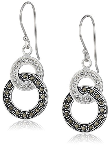 Marcasite Crystal - Sterling Silver Marcasite and Crystal Double Circle Link Drop Dangle Earrings