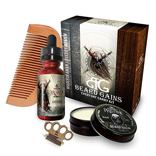 Price comparison product image Beard Gains Every Day Carry Kit, Valhalla Beard Oil/Pristine Beard Balm Medium/Miniknuck Scoop