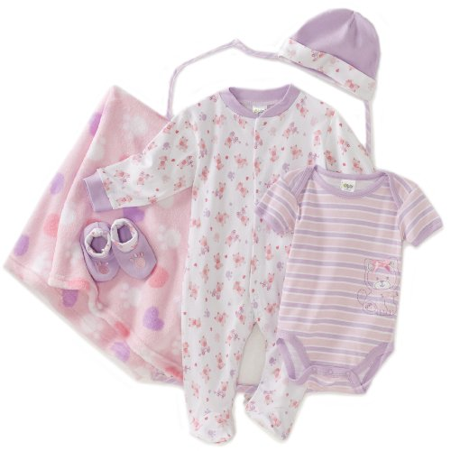 BabyGear Baby-girls Newborn Kitty Design 6 Piece Hanging Layette Set In Garment Bag