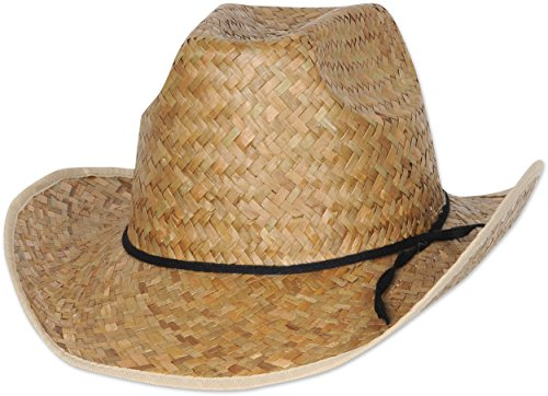 Adults Country Western High Crown Farm Hand Woven Cowboy Hat Costume (High Crown Cowboy Hat)