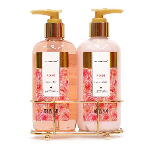 Spa Luxetique Hand Soap and Hand Lotion Caddy Set, Rose Hand Cream Gift Set, Ideal Gift for the Holidays, Christmas, Birthday, Mother's Day, Valentine's Day, Thank You Gift