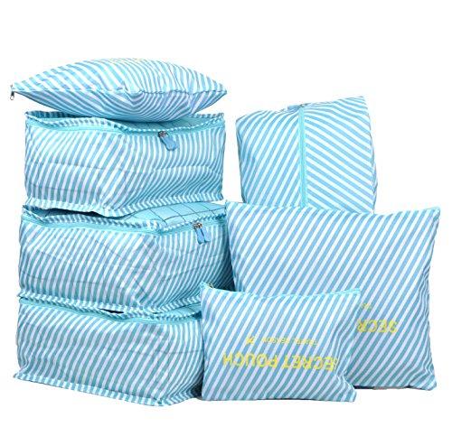7 Set Travel Packing Organizer,Waterproof Mesh Durable Luggage Travel Cubes,1 Shoe Bag (blue (Striped Shoe Organizer)