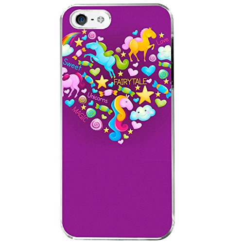 Image Of Fairytale Elements within a Heart on Purple Apple iPhone 5 / 5S Phone Case