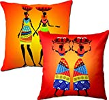 Viceroy, African Girls Designer Digital Print 3D King Size | 3D Big Size Cushion Covers 24x24 inch | 60x60 Cm (Set | Pack of 2pcs)