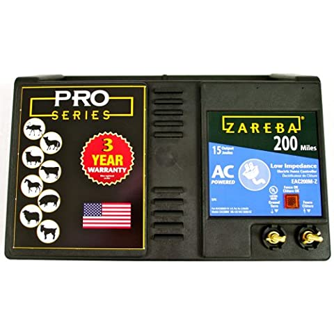 Zareba EAC200M-Z AC-Powered Low-Impedance 200-Mile-Range Charger w/ Free Storm Guard - Fence Charger