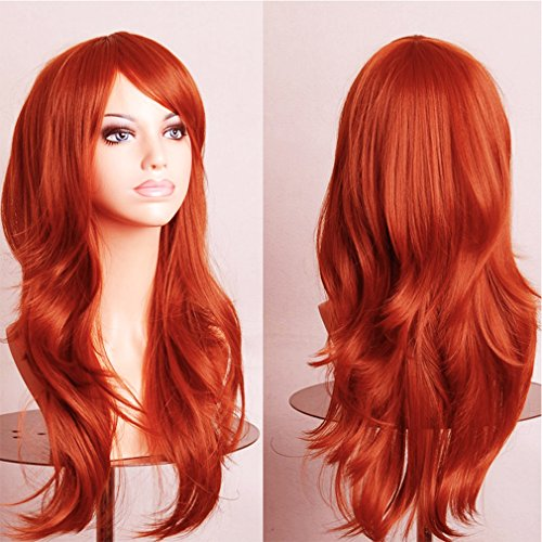 Orange Anime Cosplay Synthetic Wig Long Layered Curly Wavy Japanese Kanekalon Heat Resistant Fiber Full Wig with Bangs 23'' / 58cm+Stretchable Elastic Wig Net for Women Girls Lady Fashion - Prom Queen Halloween Costume Diy