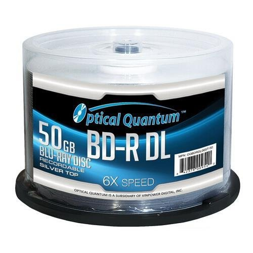 OPTICAL QUANTUM OQBDRDL06ST-50 50GB Write Once 6X BD-R DL Dual Layer Silver Top - 50 PK by Optical Quantum