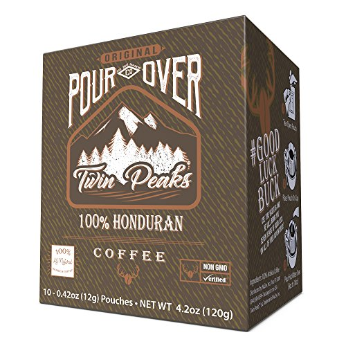 Twin Peaks Premium 100% All Natural Single Serve Pour Over Honduran Arabica Coffee, Non GMO, 10 12 gram pouches (Peaks Twin Coffee)