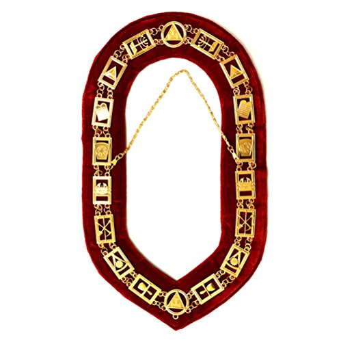 Bricks Masons Royal Arch Masonic Chain Collar - Gold/Silver On Red + Free Case
