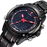 LIGE NF9050 Full Stainless Steel Digital Led Display Mens Sport Wristwatch Black Red