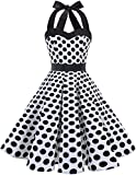 DRESSTELLS Vintage 1950s Rockabilly Polka Dots Audrey Dress Retro Cocktail Dress White Black Dot 2XL
