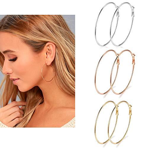 3 Pairs Big Hoop Earrings, 50mm Stainless Steel Hoop Earrings in Gold Plated Rose Gold Plated Silver for Women Girls (50mm)