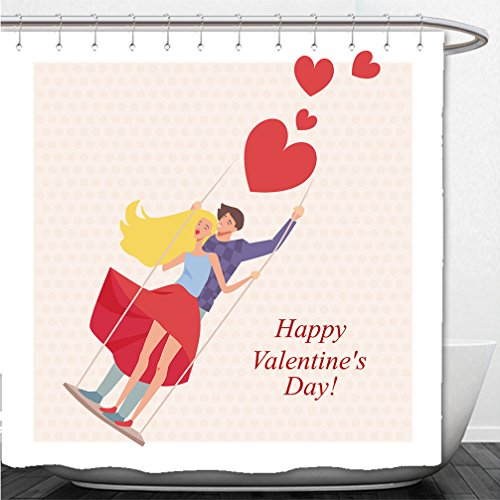 Interestlee Shower Curtain greeting card for valentine s day in a cartoon style lovers on a swing - Dc In Macy