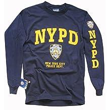 NYPD T-Shirt Long Sleeve Screen Printed Shield Athletic Tee