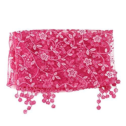 [Gilroy Newborn Baby Lace Tassel Stretch Wrap Scarf Photography Photo Props - Hot Pink] (Lace Stretch Costumes)