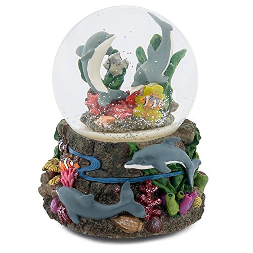 Cadona International, Inc Dolphin World Coral Reef 100MM Music Water Globe Plays Tune Somewhere Out There