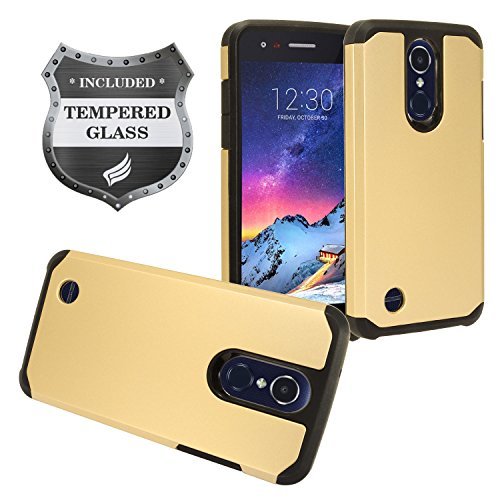 LG Tribute Empire/Dynasty, Aristo 3, Aristo 2 / 2 Plus, Phoenix 4, Fortune 2, Risio 3, Zone 4, Rebel 4, LG K8/K8+ 2018 - Hybrid Rubberized Hard Case + Tempered Glass Screen Protector - AH2 Gold