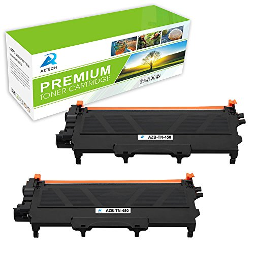 AZTECH 2 Pack 5,200 Pages Yield Black Compatible Toner Cartridge Replaces Brother TN450 TN 450 TN-450 Used For Brother HL-2280DW HL-2270DW HL-2240 HL-2240D MFC-7240 MFC-7860DW MFC-7460DN DCP-7065DN
