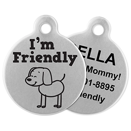 If It Barks - Engraved Pet ID Tags for Dogs - Personalized Stainless Steel Identification Tags - Custom Name Tag Attachment - Made in USA, I'm Friendly