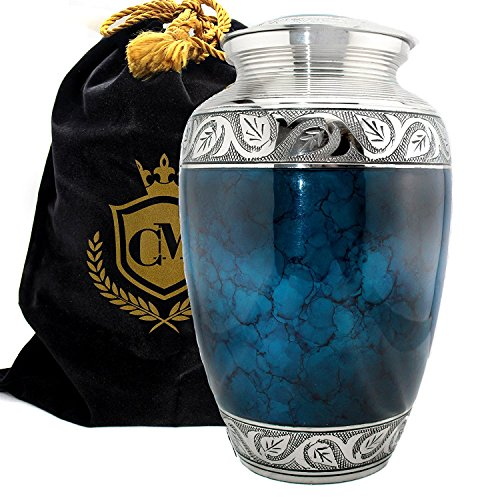 Moonstone Blue Connolly Memorials 100% Brass Cremation Urns for Human Ashes Large, Small and Keepsake for Burial, Funeral, Niche, Columbarium or Home Display