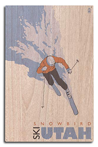 (Lantern Press Skier Stylized - Snowbird, Utah (10x15 Wood Wall Sign, Wall Decor Ready to Hang))
