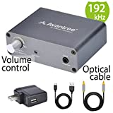 Avantree DAC Digital to Analog Audio Converter Adapter with 6.5ft Optical Cable, from TV Optical / Coaxial to Headphones 3.5mm Jack or Speaker RCA Outputs