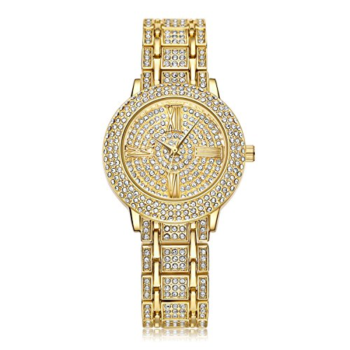 Iced-Out Gold Watch Studded with Diamonds Quartz Geneva Hip Hop Watches (Gold)