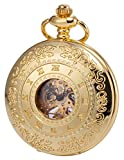 KS Half Hunter Mechanical Pocket Watch Roman Number Half Hunter Antiqued Gold Tone Case KSP045