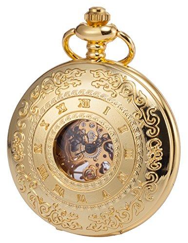 Gold Tone Vintage Pocket Watch - KS Half Hunter Mechanical Pocket Watch Roman Number Half Hunter Antiqued Gold Tone Case KSP045