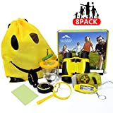 Outdoor Adventure Kit - Outdoor Explorer Gear Play Set Exploration Toys Educational Gifts for Kid Discovery, incl Binoculars, Flashlight, Compass, Whistle, Magnifying Glass, Bug Viewer (Yellow-47)