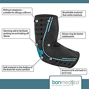Bonmedico® Farko (NEW!), Elbow Brace, Elbow Compression Brace to Promote Circulation, Elbow Brace for Tennis Elbow, Elbow Brace for Tendinitis, for Men and Women (M) (Left/Right)