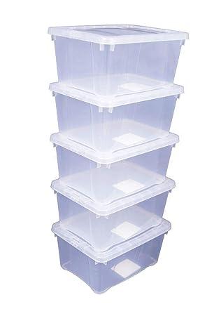 SPETEBO Cajas transparentes con tapa, 4 tamaños, transparente, 33x20x11 - 5er Set: Amazon.es: Jardín