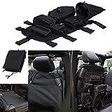 E-Most Black Front Seat Cover MOLLE Multi-Pockets Storage & Tool Kit & Cargo Bag Saddlebag For 2007-2017 Jeep Wrangler JK
