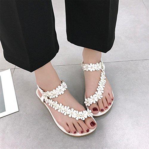 Sandales Chevrons Bohême Blanc D'été Clip Gongzhumm Mode Doux De Chaussures Tongs Plage Herringbone Perle Ballerine Femmes Perlée Toe Avec QdoCWrxBe