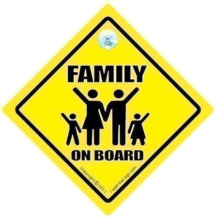 Familia cartel con ventosa para coche, diseño con texto en ...