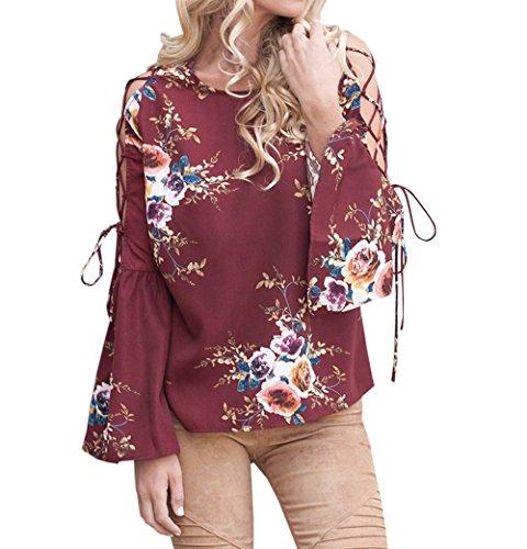 Onlyoustyle Shirts T Casual Flare Haut Top Blouses et Col Automne Printemps Chemisiers Fashion Femmes Rond Sleeve Bandage Imprim Rouge BwTrqBx