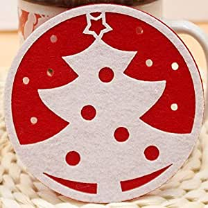 Christmas round white tree coaster coffee mat
